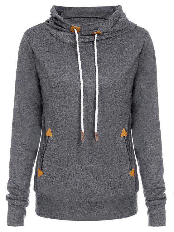outfit Stylish Hooded Long Sleeve Draped Spliced Women's Hoodie - DEEP GRAY XL