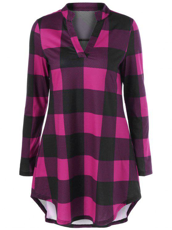 latest Split Neck Long Plaid Boyfriend T-Shirt - VIOLET ROSE M