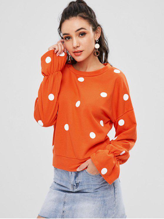 Sweat-shirt à Pois à Manches Plissées - Orange M