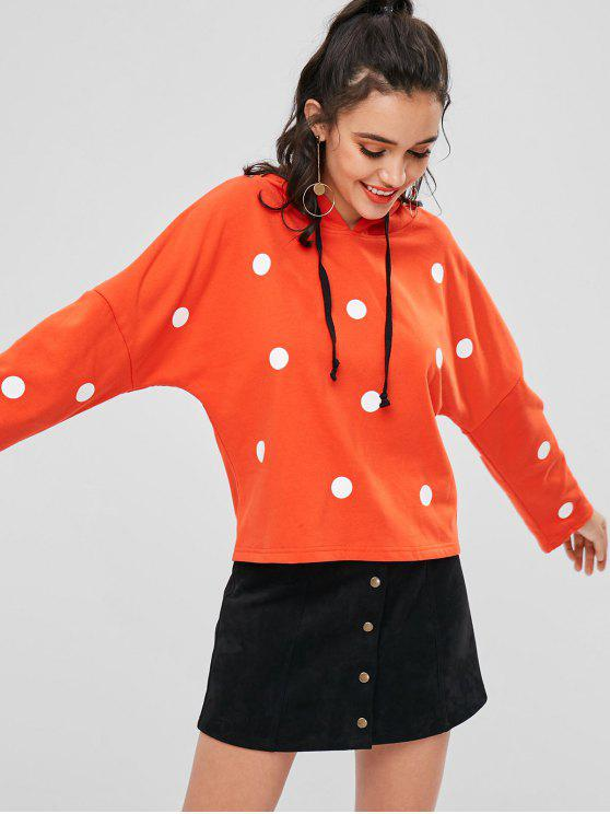 fancy Drawstring Polka Dot Hoodie - ORANGE L
