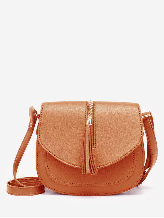 women Solid Tassel Chain Chic Flap Crossbody Bag - BROWN