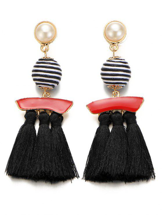 Pérola Artificial Listrado Bola Tassel Drop Earrings - Preto