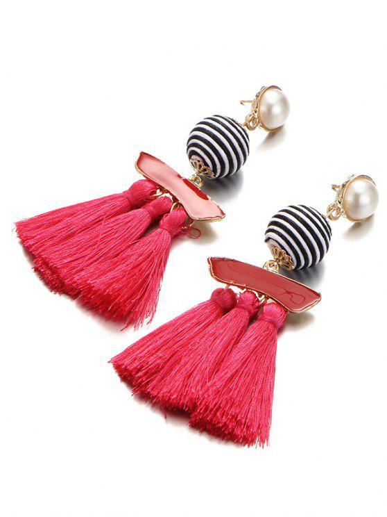 hot Artificial Pearl Striped Ball Tassel Drop Earrings - RED