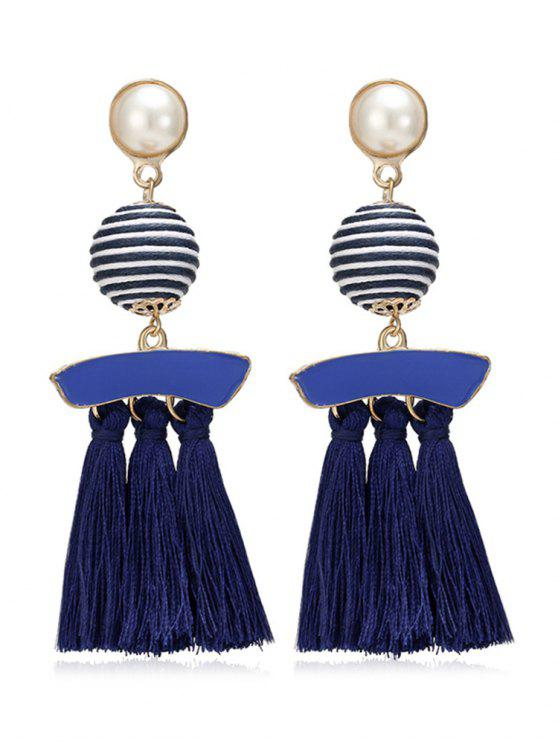 Künstliche Perle gestreiften Ball Quaste Ohrringe - Denim Dunkelblau