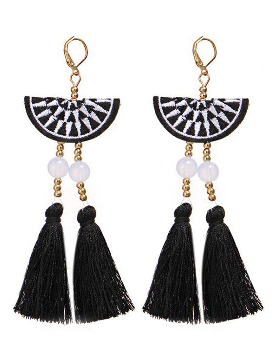Bohemian Fan Shaped Tassel Drop Earrings - Negro