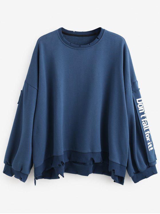 best Side Letter Patchwork Oversized Pullover Sweatshirt - BLUE M