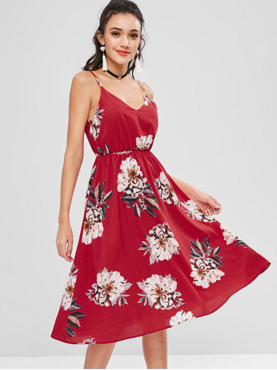 fancy Floral Cami Flare Dress - LOVE RED S