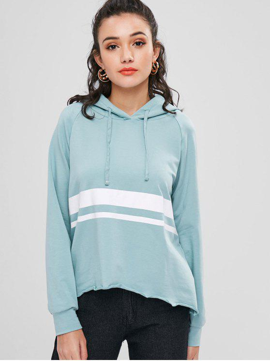 womens Raglan Sleeve Stripes Panel Hoodie - CYAN OPAQUE L