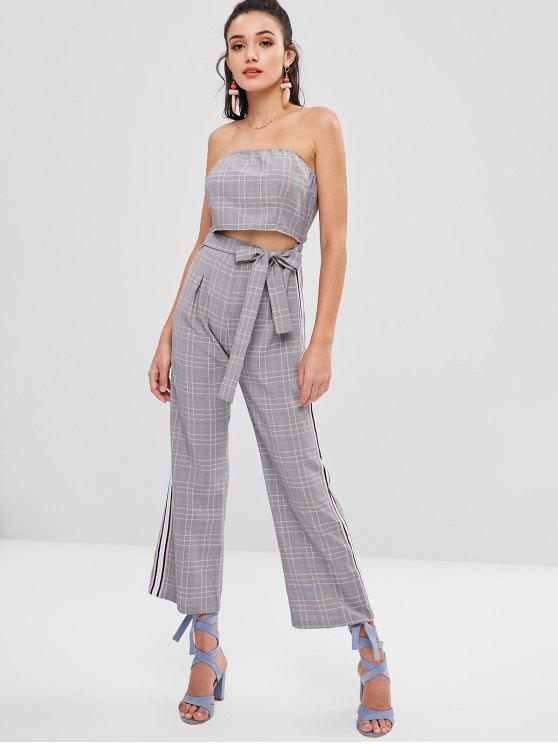lady Knotted Plaid Strapless Jumpsuit - MULTI M