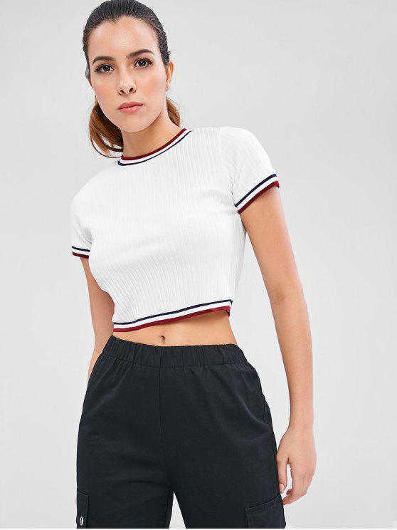women's Contrast Trim Ribbed Knit Crop Tee - WHITE M