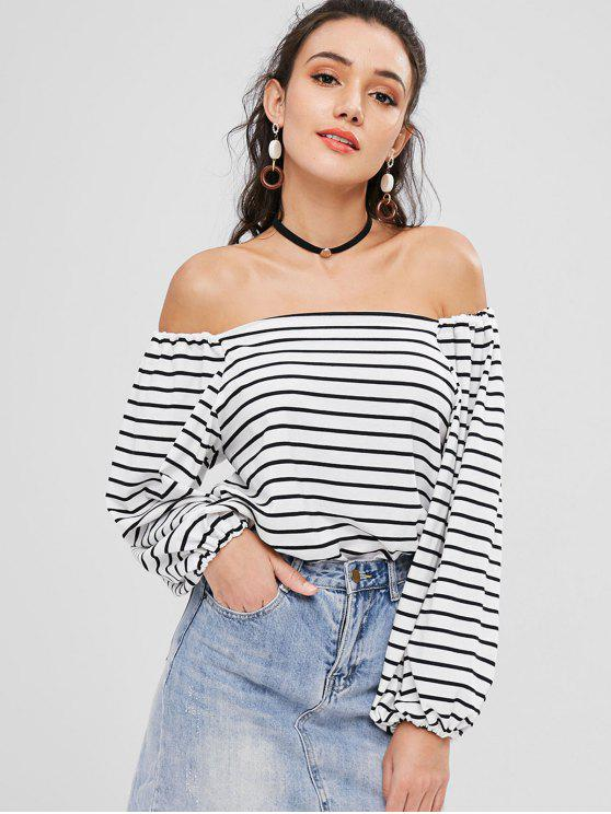 lady Striped Off The Shoulder T-shirt - WHITE ONE SIZE