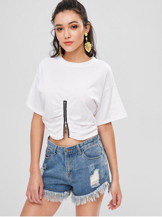 Reißverschluss Cinched T-Shirt - Weiß XL