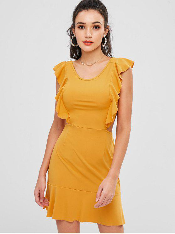 affordable Ruffles Open Back Dress - BEE YELLOW XL