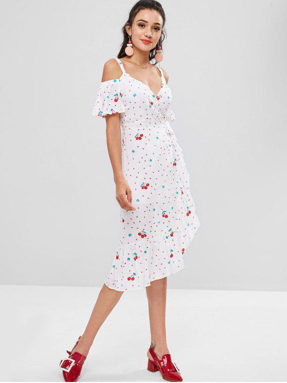 outfit Cherry Print Cold Shoulder Wrap Dress - WHITE ONE SIZE