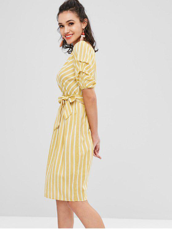 outfits Striped Smock Dress - CORN YELLOW ONE SIZE