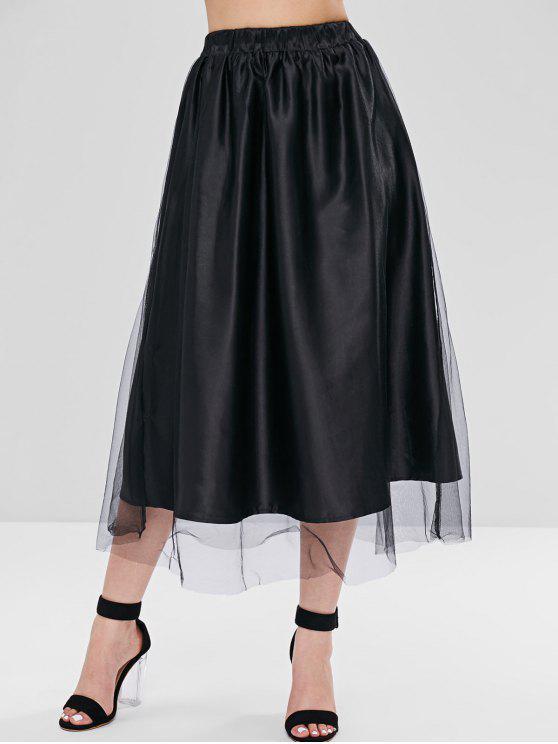 new Tulle Overlay Satin Midi Full Skirt - BLACK S