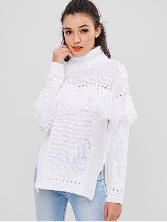 buy Tassel High Low Longline Sweater - WHITE M