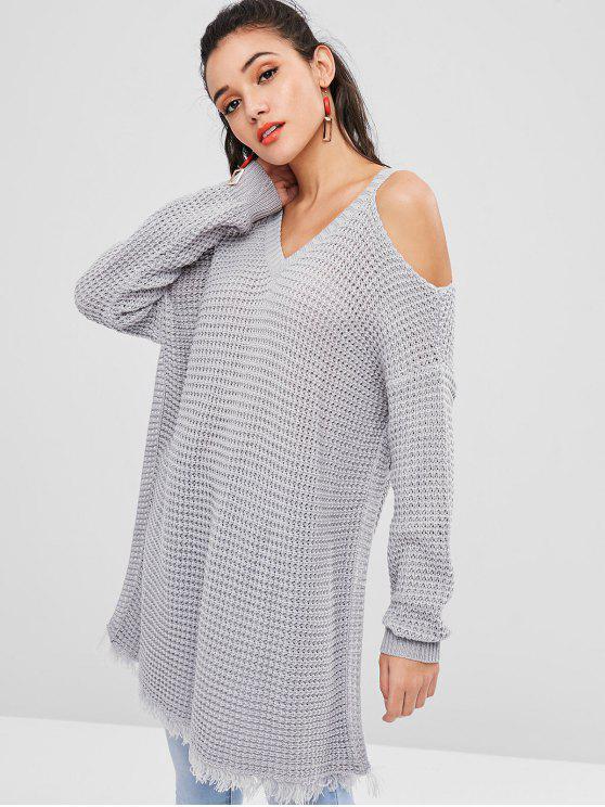 Ажурный холодный наплечный свитер - Светло-серый M