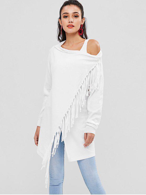 womens Asymmetrical Tassel Cardigan - WHITE M