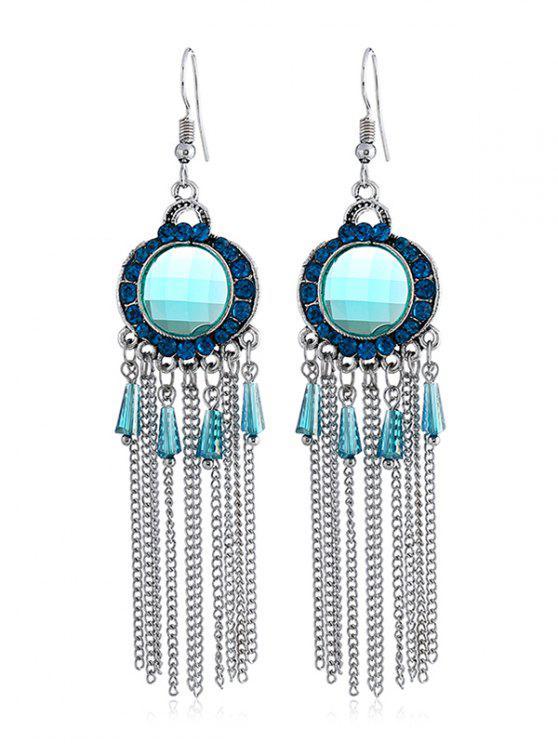 ladies Bohemian Rhinestone Fringe Fish Hook Earrings - LIGHT BLUE