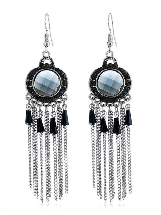 online Bohemian Rhinestone Fringe Fish Hook Earrings - BLACK