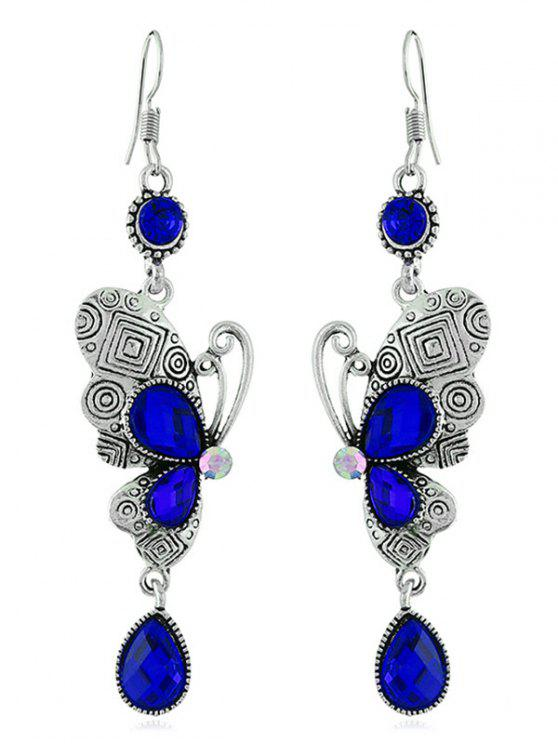 sale Retro Rhinestone Butterfly Hook Earrings - ROYAL BLUE