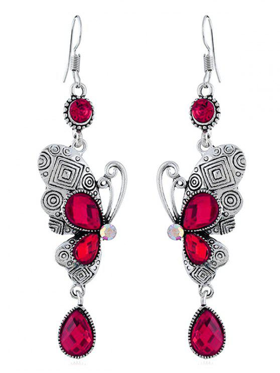 lady Retro Rhinestone Butterfly Hook Earrings - ROSE RED