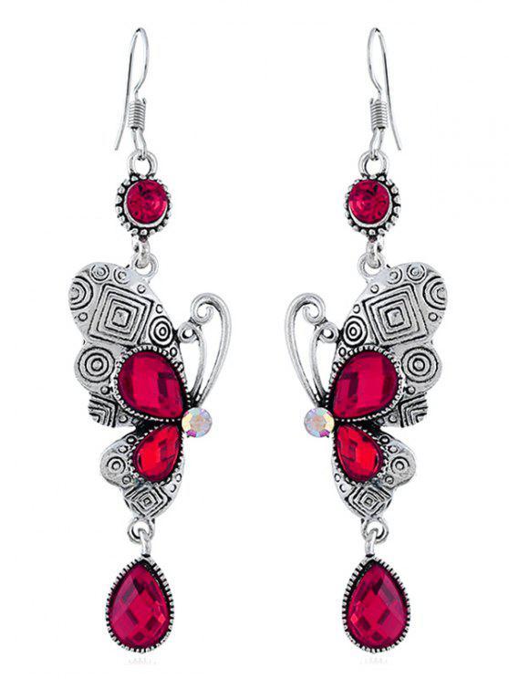 Pendientes de gancho de mariposa de diamantes de imitación retro - Rosa Roja