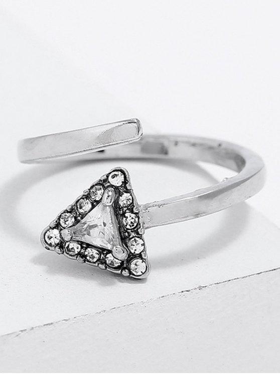 مثلث الشكل حجر الراين إصبع خاتم الكفة - فضة