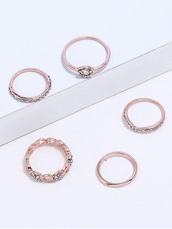 Strass Herz Design Fingerringe Set - Roségold