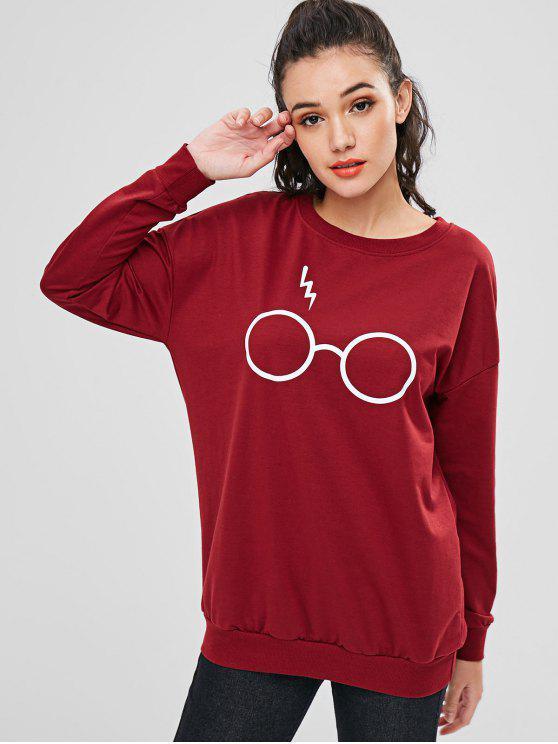 Niedliches Brillen Sweatshirt - Roter Wein S