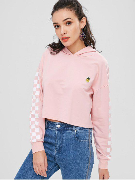 Checkered Panel Ananas gepatcht Hoodie - Helles Rosa M