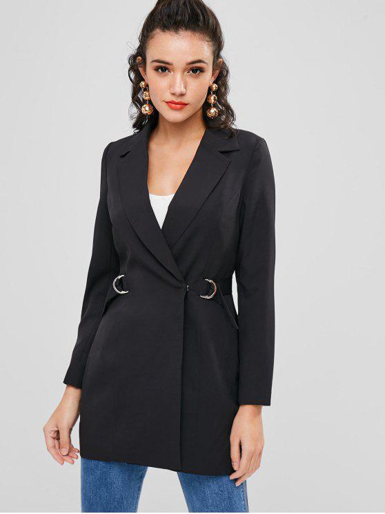 outfits Double Breasted D Ring Long Blazer - BLACK M
