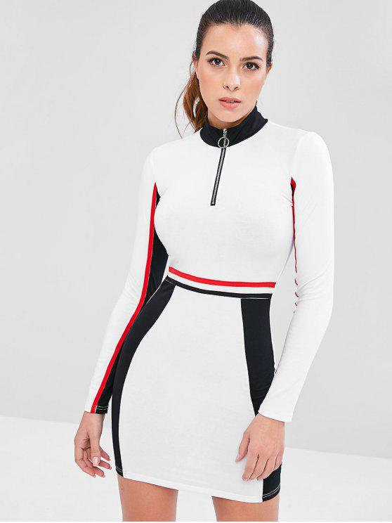 best Contrast Zip Color Block Sporty Dress - WHITE S