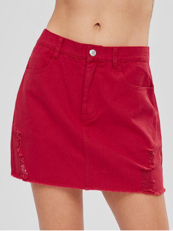 Mini jupe frangée déchirée - Rouge Amour L