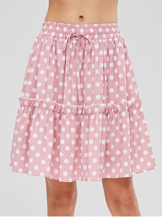 trendy Ruffles Polka Dot Skirt - LIGHT PINK M