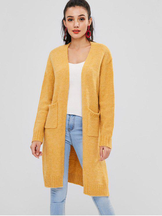 chic Slit Open Front Longline Cardigan - BEE YELLOW ONE SIZE