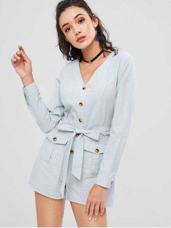 ladies Belted Buttoned Romper - PALE BLUE LILY M
