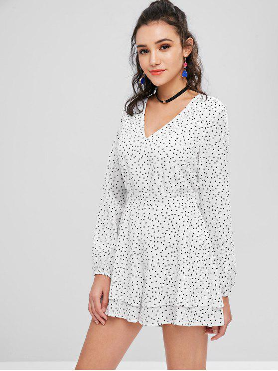 new Layered Dots Knotted Romper - WHITE L
