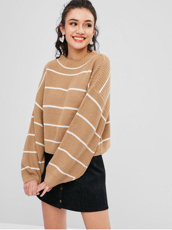 Lantern Sleeve Contrasting Striped Sweater - Tan