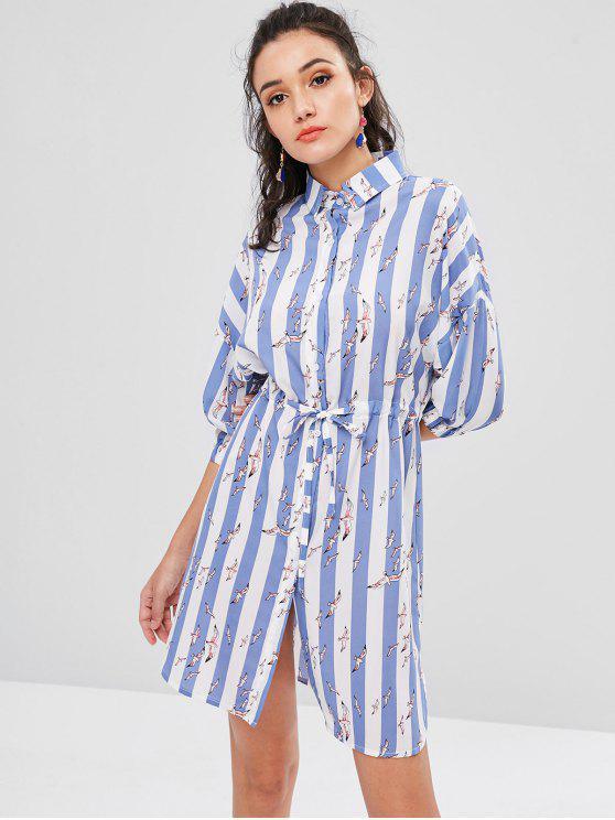 chic Birds Stripes Shirt Dress - LIGHT STEEL BLUE M