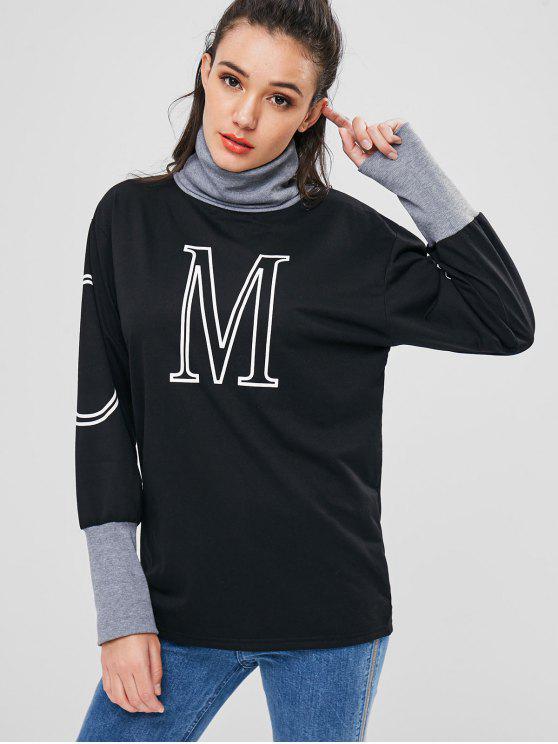 chic Roll Neck Graphic Long Sweatshirt - BLACK S