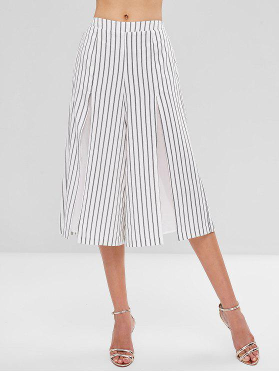 outfits Striped Split Wide Leg Culottes - WHITE L