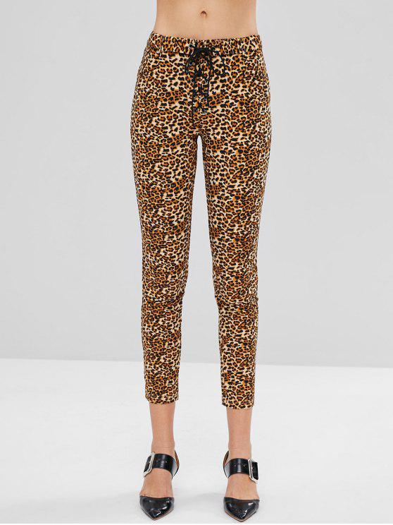 Bolsos ZAFUL Lace Up Calças Skinny de Estampa de Leopardo - Leopardo L