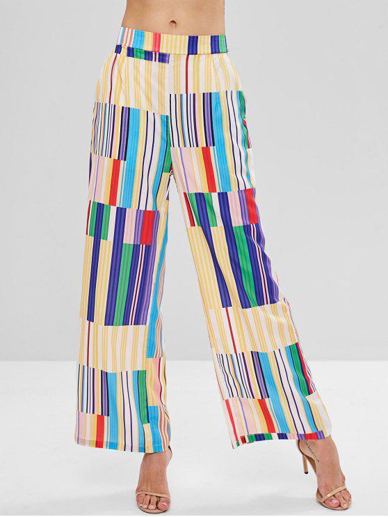 best Patchwork Stripe Print Wide Leg Palazzo Pants - MULTI M