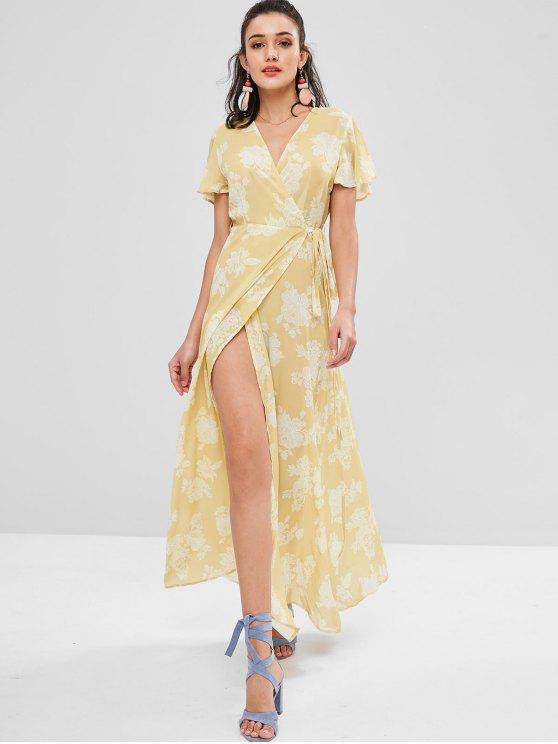 women Slit Sleeve Floral Wrap Dress - SUN YELLOW S
