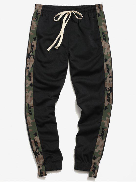 women Side Camo Patch Jogger Pants - BLACK M