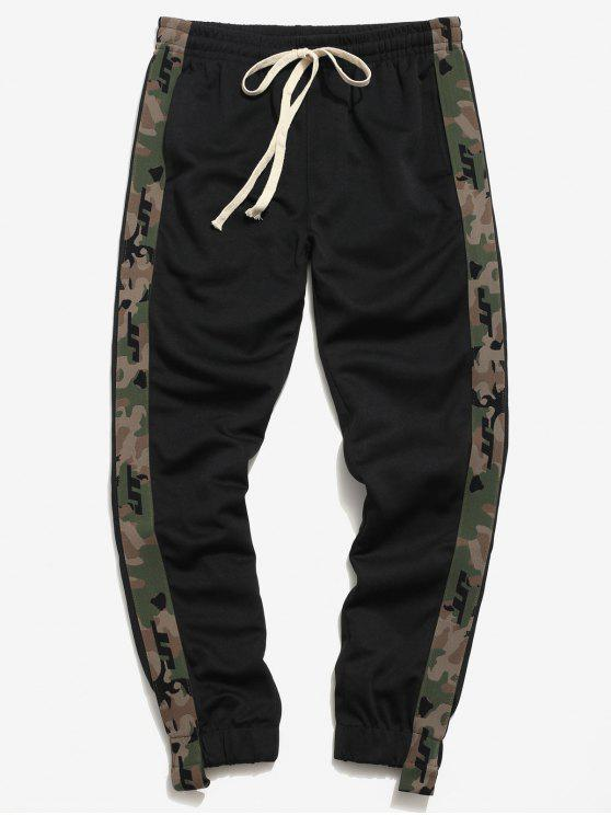 women's Side Camo Patch Jogger Pants - BLACK L