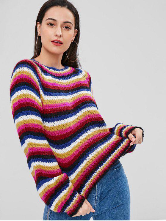 Bunte Gestreiftes Chunky Strick Sweater - Multi Eine Größe