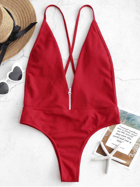 Costume Da Bagno A Costine Con Cerniera Senza Schienale - Rosso Lava  M